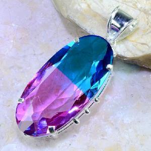Trm 100b pendentif tourmaline ametrine pierre taillee achat vente bijou argent 925