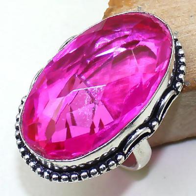 Trm 101a bague t59 tourmaline rose bijoux renaissance medievale argent 925 vente achat