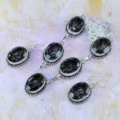 Trm 129a parure collier boucles tourmaline quartz rutile pierre achat vente bijou argent 925