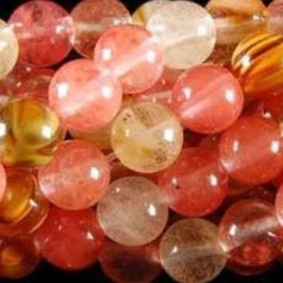 Trm 132c perles 8mm tourmaline watermelon pierre gemme mineraux achat vente bijou