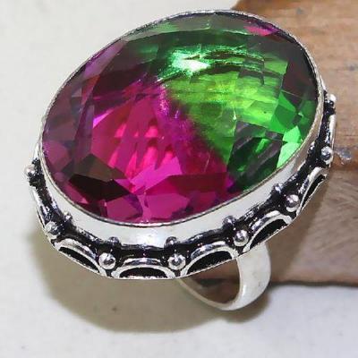 Trm 136a bague t59 tourmaline rose verte bijoux medievale argent 925 vente achat