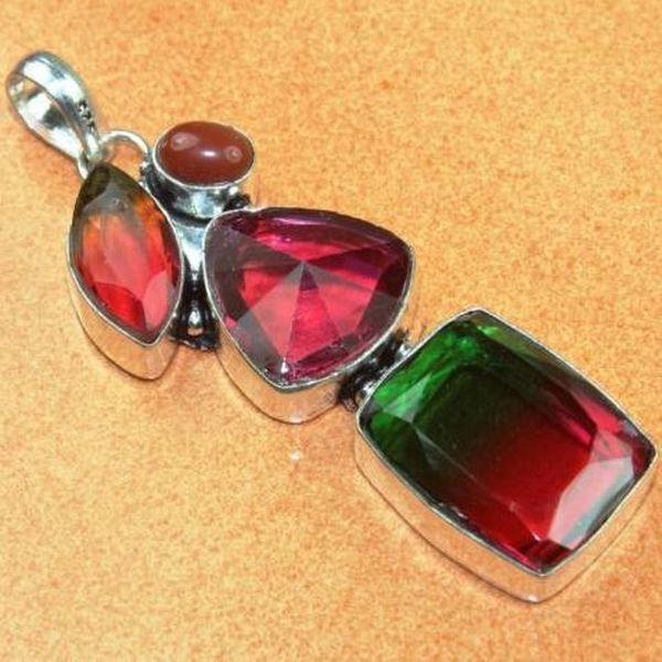 Trm 144a pendentif tourmaline ametrine pierre taillee achat vente bijou argent 925