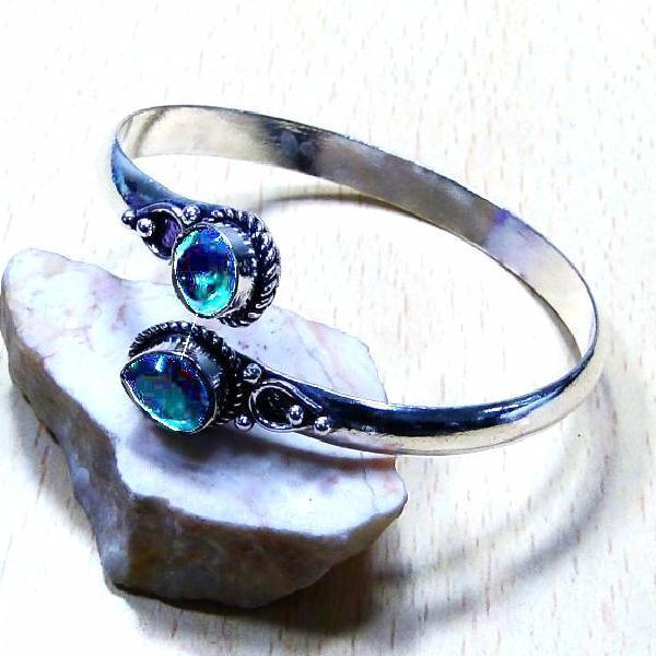 Trm 148b bracelet torque tourmaline verte pierre achat vente bijou argent 925