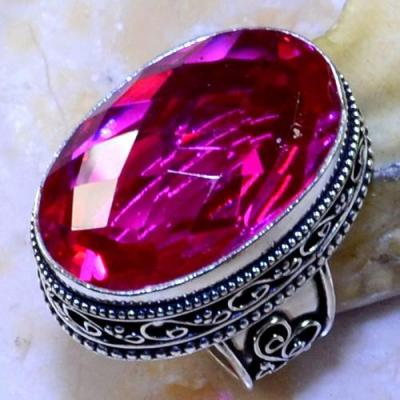 Trm 149a bague t56 tourmaline rose bijoux renaissance medievale argent 925 vente achat