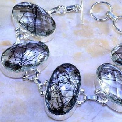 Trm 154b bracelet tourmaline quartz rutile cristal achat vente bijou argent 925