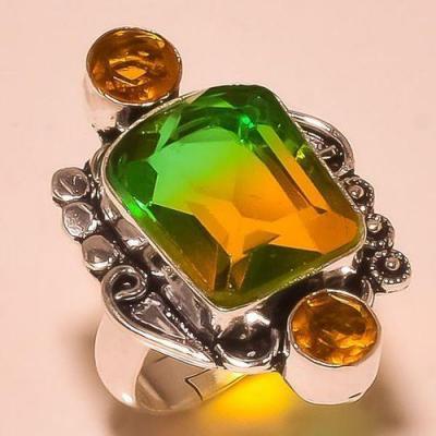 Trm 198a bague t reglable tourmaline verte quartz bijoux medievale argent 925 vente achat 1 1