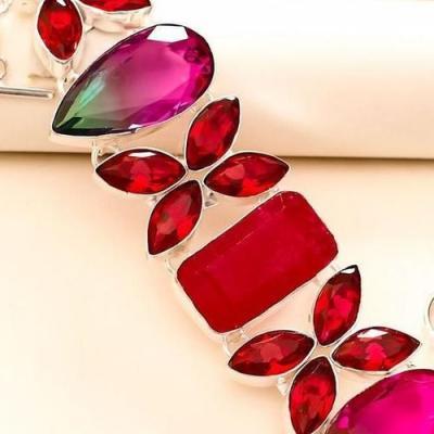Trm 246c bracelet tourmaline grenat rubis achat vente bijou argent 925 1