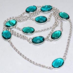 Trm 298a collier sautoir tourmaline cabochons bleu ovales achat vente bijou argent 925