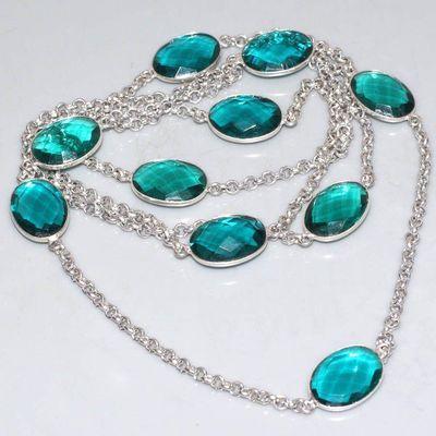 TRM-298 - Long SAUTOIR 90 cm, collier, parure avec 10 TOURMALINE bicolores bleues 15 x 20 mm -argent 925 - 195 carats - 39 gr