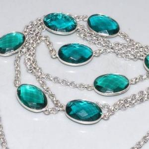 Trm 298b collier sautoir tourmaline cabochons bleu ovales achat vente bijou argent 925