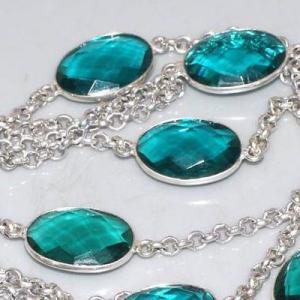 Trm 298c collier sautoir tourmaline cabochons bleu ovales achat vente bijou argent 925