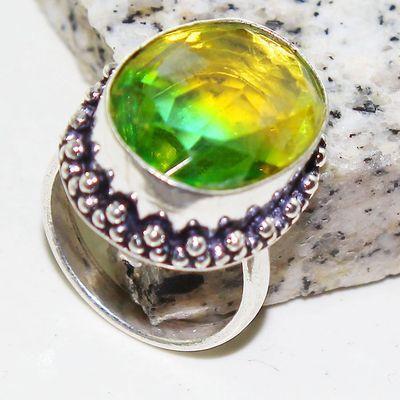 Trm 301a bague chevaliere t57 tourmaline 12x20 or verte pierre achat vente bijou argent 925 1