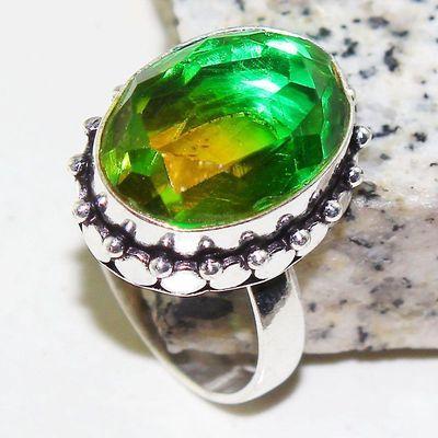 Trm 302a bague chevaliere t58 tourmaline 13x18 or verte pierre achat vente bijou argent 925 1