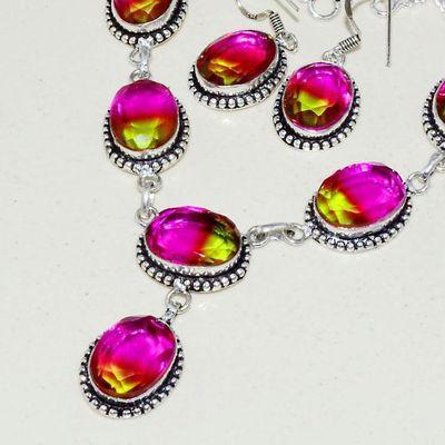 Trm 303b collier boucles oreilles sautoir tourmaline rose verte achat vente bijou argent 925