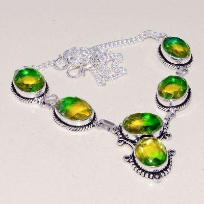 Trm 304a collier sautoir tourmaline cabochons vert or ovales achat vente bijou argent 925
