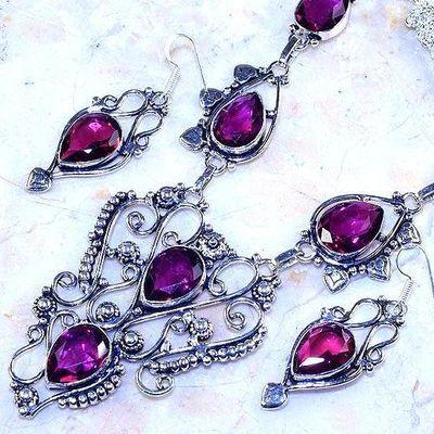 Trm 306b collier boucles oreilles sautoir tourmaline rose ovales achat vente bijou argent 925