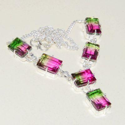 Trm 308a collier parure sautoir tourmaline rose verte 27gr achat vente bijou argent 925