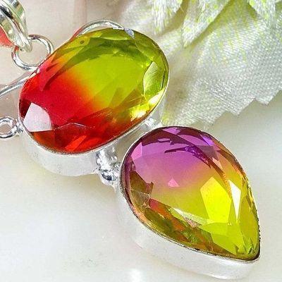 Trm 309c pendentif pendant tourmaline rose or violet achat vente bijou argent 925