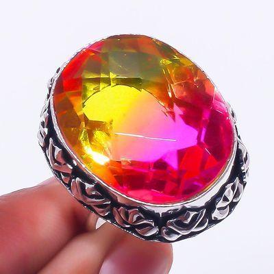 Trm 311a bague chevaliere t61 15gr tourmaline 22x18 or rose pierre achat vente bijou argent 925
