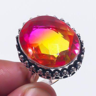 Trm 314a bague chevaliere t62 12gr tourmaline 22x18 or rose pierre achat vente bijou argent 925
