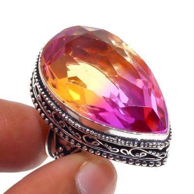 Trm 316a bague chevaliere t58 16gr tourmaline 20x30 or rose pierre achat vente bijou argent 925