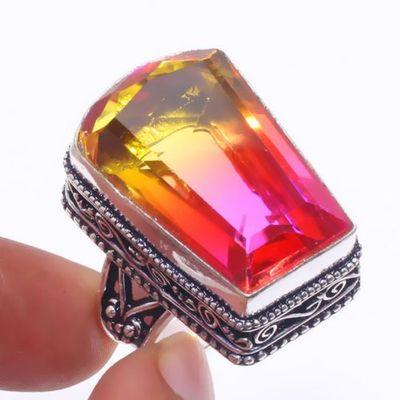 Trm 317a bague chevaliere t60 15gr tourmaline 18x26 or rose pierre achat vente bijou argent 925