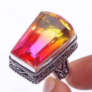 Trm 317b bague chevaliere t60 15gr tourmaline 18x26 or rose pierre achat vente bijou argent 925