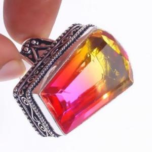 Trm 317c bague chevaliere t60 15gr tourmaline 18x26 or rose pierre achat vente bijou argent 925