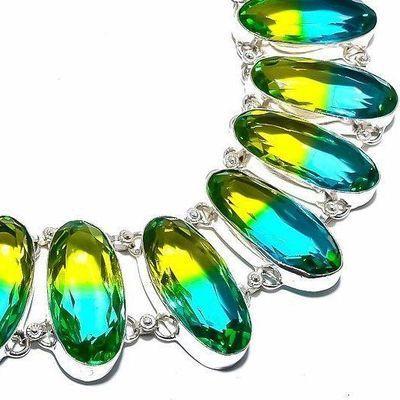 Trm 319c collier parure tourmaline 119gr vert or ovales 14x24mm achat vente bijou argent 925