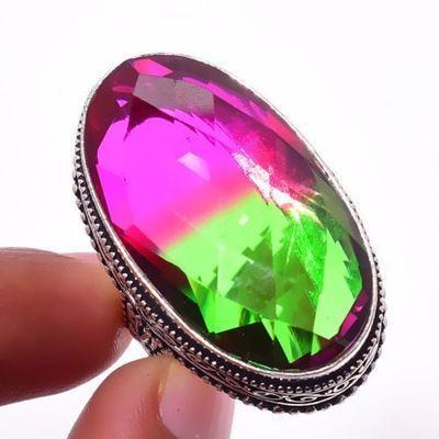 Trm 324a bague chevaliere 18x30mm tourmaline 17gr rose verte ovales achat vente bijou argent 925