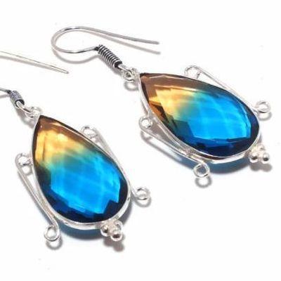 Trm 325c boucles oreilles tourmaline 12gr bleu or ovales 15x28mm achat vente bijou argent 925