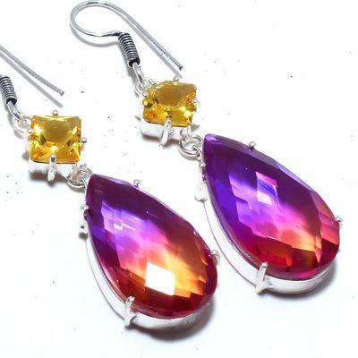 Trm 332c boucles oreilles tourmaline citrine 15gr violet orange 15x30 achat vente bijou argent 925