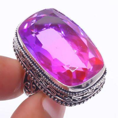 Trm 333a bague chevaliere t60 20x30mm tourmaline 16gr rose violette achat vente bijou argent 925