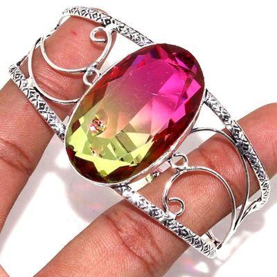 Trm 335a bracelet torque 29gr 24x40mm tourmaline rose vert achat vente bijoux argent