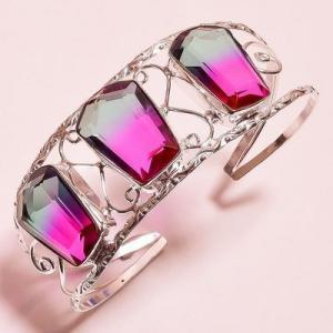 Trm 342a bracelet torque 34gr 18x26mm tourmaline bleu violet achat vente bijoux argent