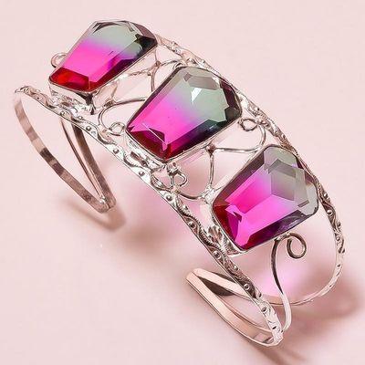 Trm 342b bracelet torque 34gr 18x26mm tourmaline bleu violet achat vente bijoux argent