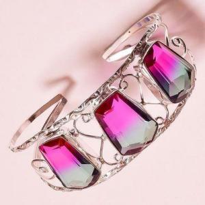 Trm 342c bracelet torque 34gr 18x26mm tourmaline bleu violet achat vente bijoux argent
