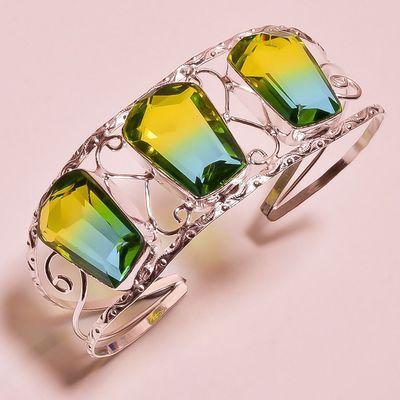 Trm 343a bracelet torque 37gr 18x26mm tourmaline or bleu vert achat vente bijoux argent