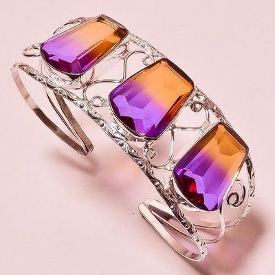 Trm 344d bracelet torque 38gr 18x26mm tourmaline violet orange achat vente bijoux argent