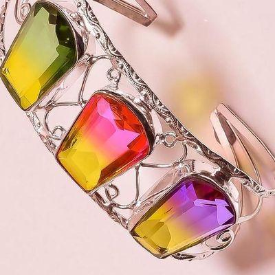 Trm 345c bracelet torque 37gr 18x26mm tourmaline rose vert or achat vente bijoux argent