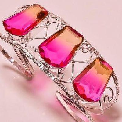 Trm 347d bracelet torque 37gr 18x26mm tourmaline rose orange achat vente bijoux argent