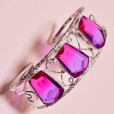Trm 348b bracelet torque 36gr 18x26mm tourmaline rose violet achat vente bijoux argent