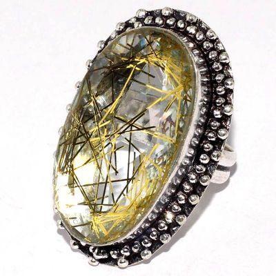 Trm 425a bague chevaliere anneau t55 tourmaline rutile 13gr 17x30mm blanc or vente bijou argent 925