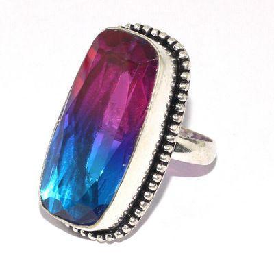 Trm 428a bague chevaliere anneau t58 tourmaline 13gr 16x32mm violet bleu vente bijou argent 925