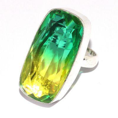 Trm 434a bague chevaliere anneau t57 tourmaline 10gr 15x30mm vert or vente bijou argent 925