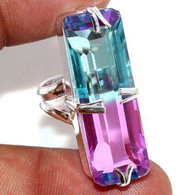 Trm 440a bague chevaliere anneau t52 tourmaline 10gr 15x34mm bleue rose vente bijou argent 925