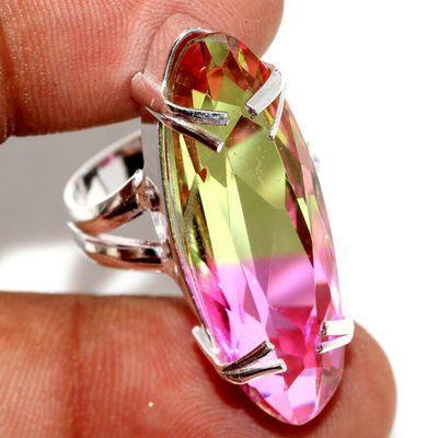 Trm 441a bague chevaliere anneau t55 tourmaline 9gr 10x32mm or rose vente bijou argent 925