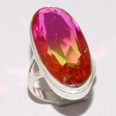 Trm 481a bague chevaliere anneau t57 tourmaline 9gr 15x32mm orange rose vente bijou argent 925