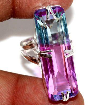 Trm 489a bague chevaliere anneau t53 tourmaline 9gr 10x32mm bleu rose achat vente bijou argent 925