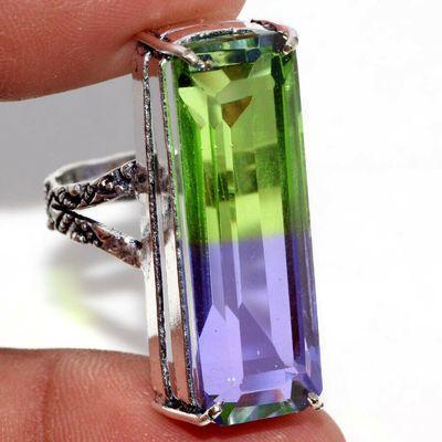 Trm 496a bague chevaliere anneau t62 tourmaline 10gr 10x32mm verte violette vente bijou argent 925